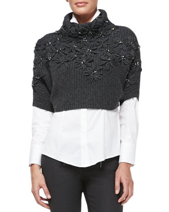 Flower-Embroidered Cropped Cashmere Sweater