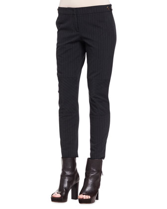 Paneled Pinstripe Wool Pants