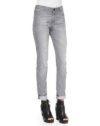 Slim Straight-Leg Jeans, Stone