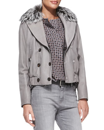 Reversible Leather Bomber Jacket with Fur Collar