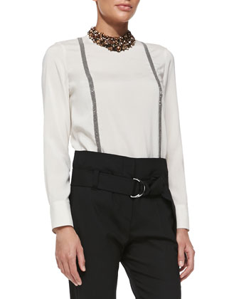 Long-Sleeve Suspender-Effect Blouse
