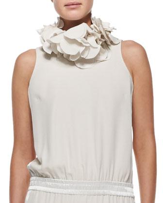 Silk Petal Collar Necklace, Vanilla