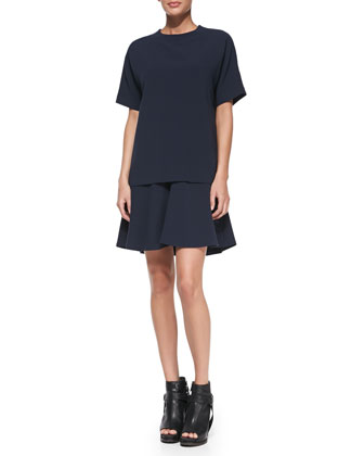 Short-Sleeve Layered Crepe Dress