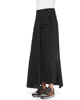 Belted Pleat-Panel Maxi Skirt
