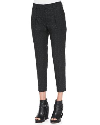 Polka-Dot Flannel Pleated Pants