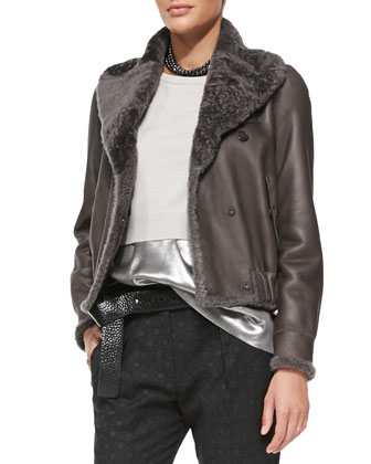 Reversible Leather/Fur Bomber Jacket
