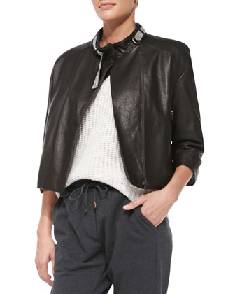 Monili-Collar Leather Jacket