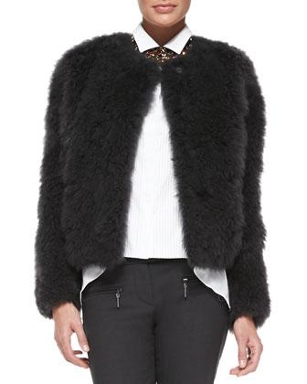 Goat Fur Snap-Front Jacket, Graphite