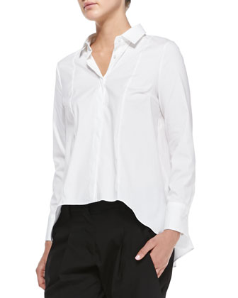 Long-Sleeve Poplin Cylinder Blouse