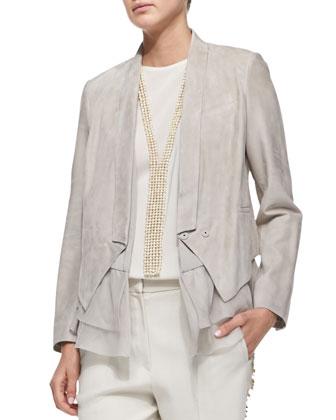 Suede Jacket with Silk Vest