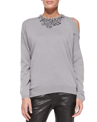 Embellished Cold-Shoulder Cashmere Sweater