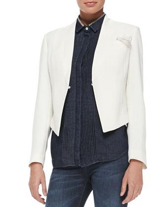 Cropped Crepe Tuxedo Jacket