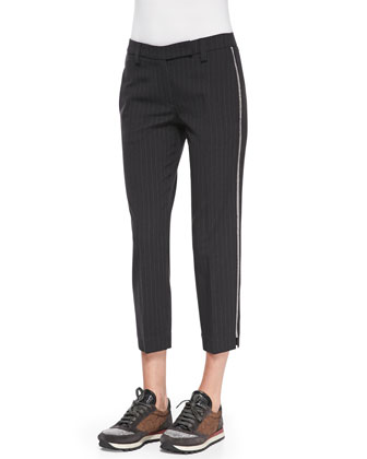 Pinstriped Racing-Stripe Pants