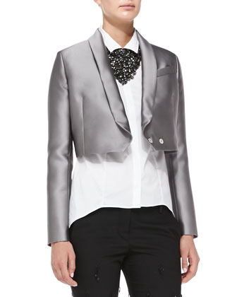 Cropped Duchess Satin Jacket