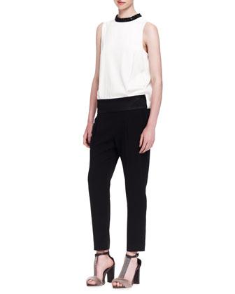 Colorblock Crystal-Collar Evening Jumpsuit