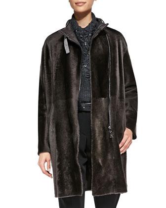 Shearling Coat with Monili Collar