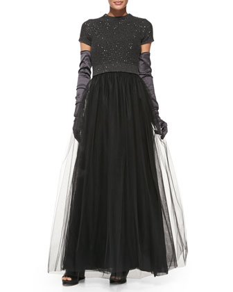 Short-Sleeve Paillette-Top Tulle Gown