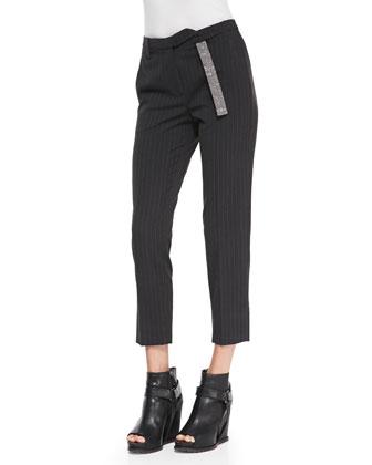 Monili-Belt Pinstripe Ankle Pants