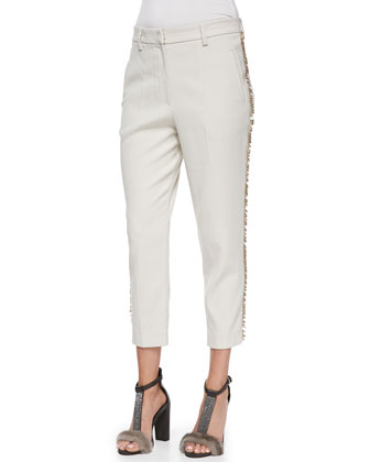 Cropped Paillette-Stripe Pants
