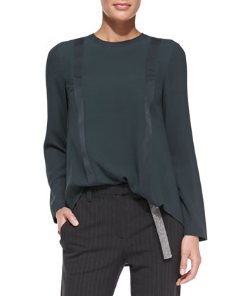 Suspender-Detail High-Low Silk Top