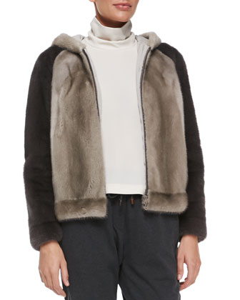 Hooded Mink Fur Colorblock Jacket