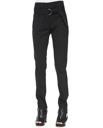 High-Waist D-Ring Slim Pants