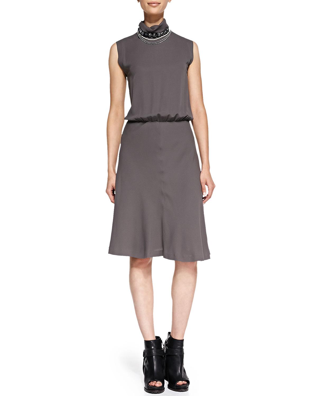 Mock-Neck Swing-Skirt Dress