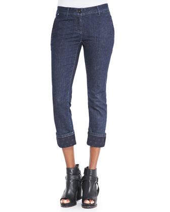 Polka Dot-Cuff Ankle Jeans