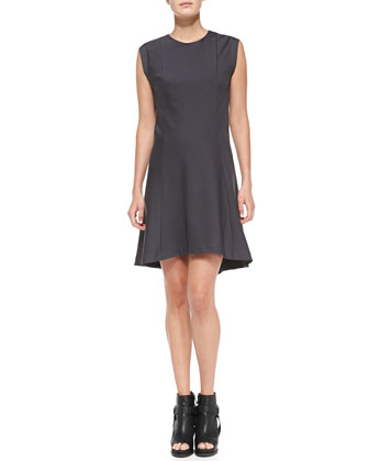 Felpa Sleeveless High-Low Swing Dress, Graphite