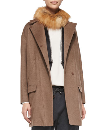 Wool-Blend Coat with Fox Fur Collar