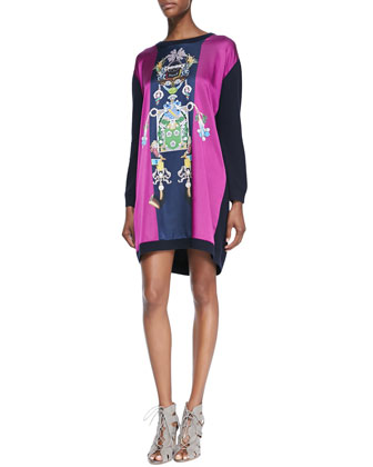 Tiki Printed Knit Shift Dress, Purple/Navy