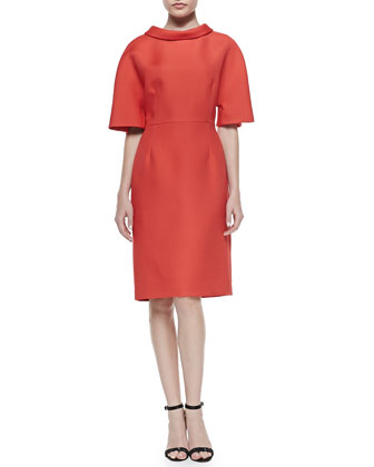 Wide-Sleeve Funnel-Collar Dress, Lava Red