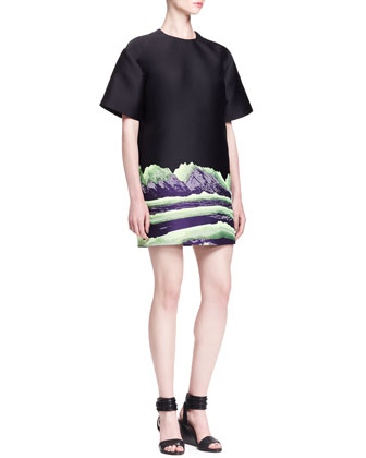 Mountain-Print T-Shirt Dress