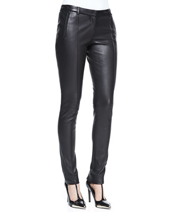 Stovepipe Leather Pants, Black