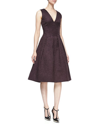 Satin Jacquard V-Neck Dress, Eggplant
