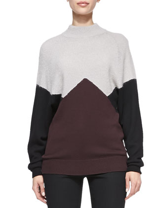 Long-Sleeve Colorblock Pullover Sweater, Black/Eggplant