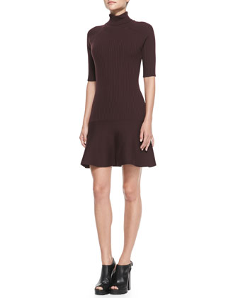 Ribbed Flare-Hem Turtleneck Dress