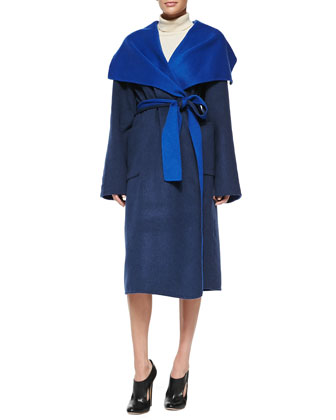 Shawl-Collar Two-Tone Belted Overcoat