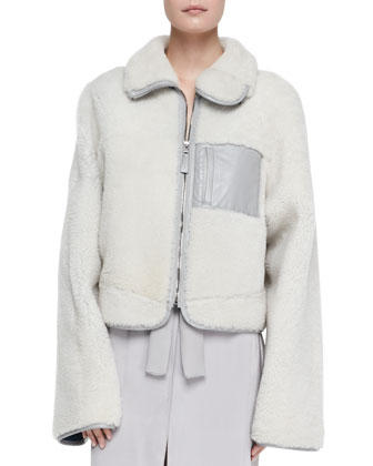 Short Shearling Fur Zip Jacket