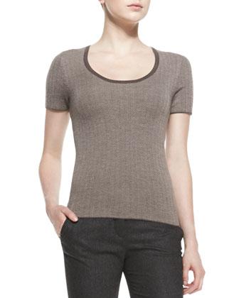 Short-Sleeve Herringbone Top