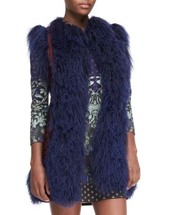 Mongolian Lamb Fur & Passementerie Vest, Blue