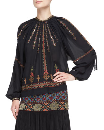 Embroidered & Beaded Pleasant Blouse