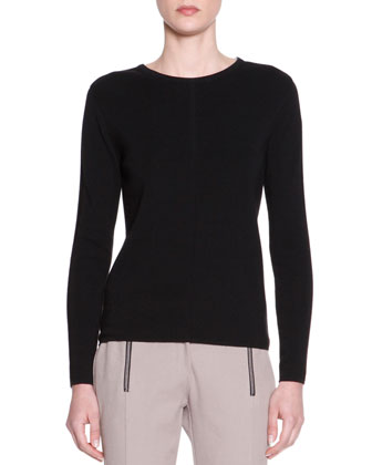 Long-Sleeve Scoop-Neck Sweater, Black
