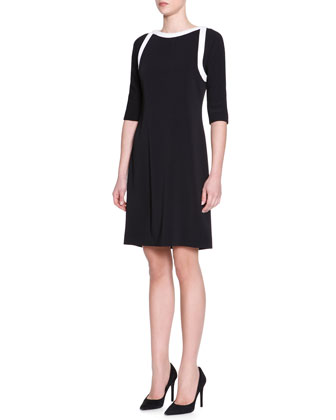 Half-Sleeve Contrast-Trim Dress, Black/White