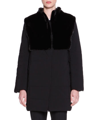 Puffer Jacket with Mink Fur, Black
