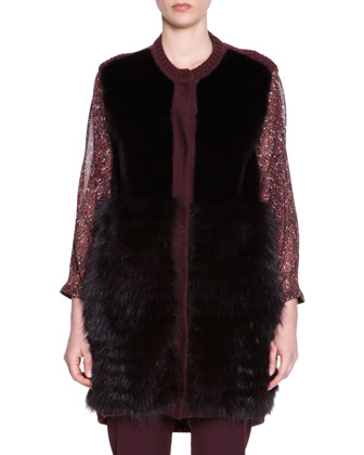 Mink & Fox Fur Knit-Trim Vest