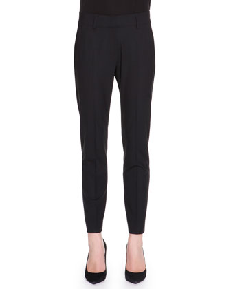 Kim Tropical-Weight Wool Pants, Black