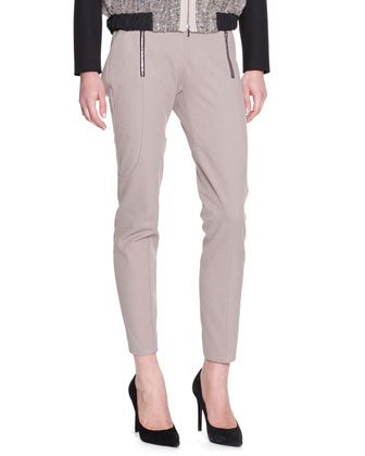 Techno Zip-Detail Riding Pants, Taupe