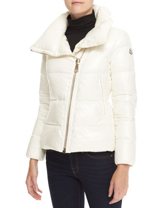 Short High-Neck Puffer Coat, Cream