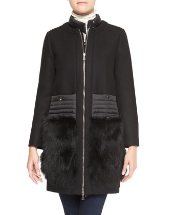 Long Collarless Jacket with Fur Patch Pockets